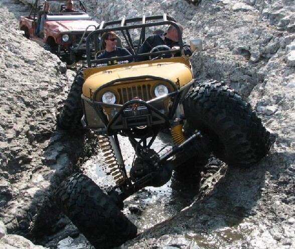 Ca c est de la suspension ! - franchissement de rochers en jeep extreme